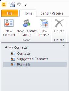 The new contact folder will be displayed in the