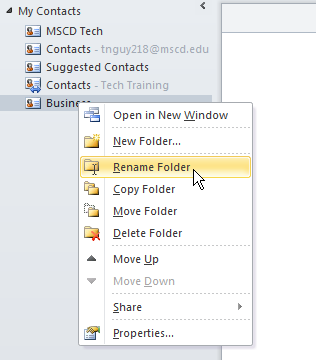 Bar, right click on a contact folder you want to rename