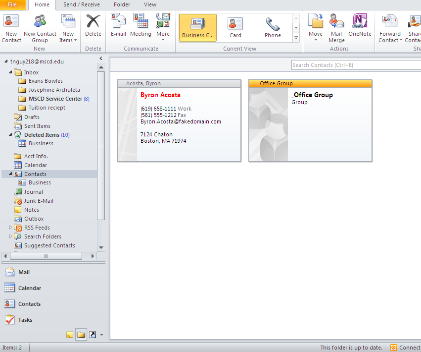 Double click the Contact Group to open, go to Contact Group tab Communicate group click E-mail Click on the Folder