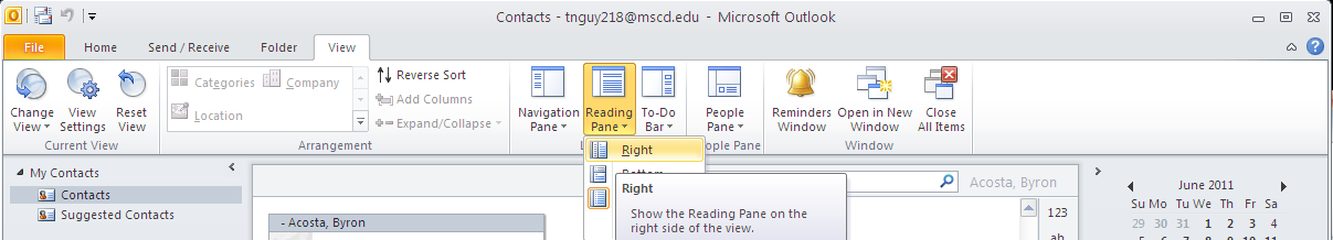place the Reading Pane Click on the little arrow minimize button to turn off the To Do Bar runs along