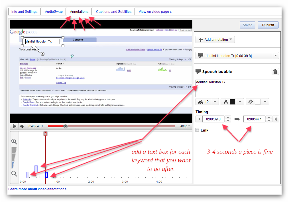 Next thing that we want to do is add Annotations to the video. This will help with on page SEO.