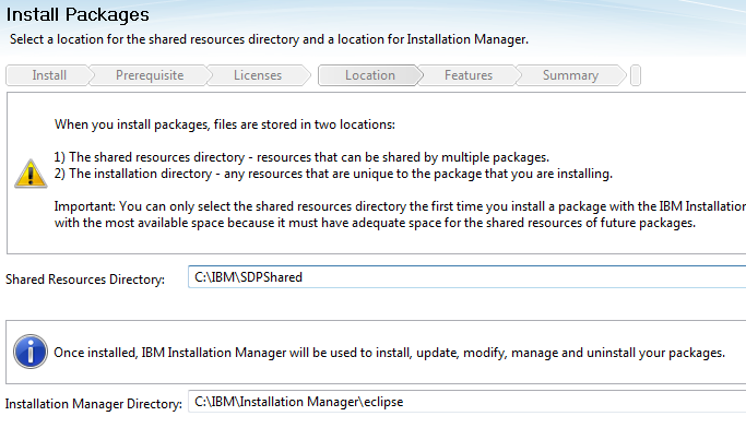 8. Change the Shared Resources Directory and Installation Manager Directory to the values below and click Next.