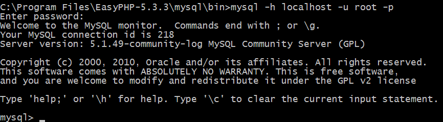 Logging in to MySQL