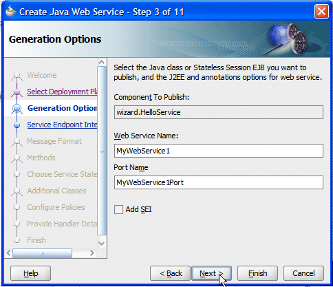 6. In the Generation Options step of the wizard, type MyWebService1 as the Web Service Name, and ensure that the Port Name is set