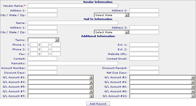 Vendor File Add Vendors To add a vendor simply click on each field in the file, type in the appropriate data for each field, and press tab, or click on the next field that needs to be filled in.