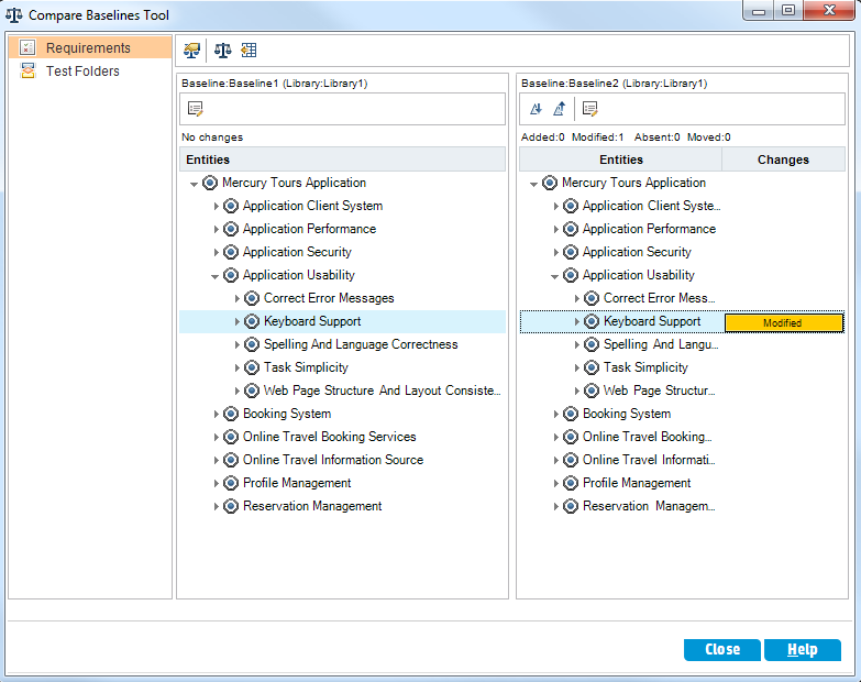 Chapter 9: Creating Libraries and Baselines a. Click the Go To Next Change button in the right pane to view the change. Differences between the two baselines are indicated in the Changes column.