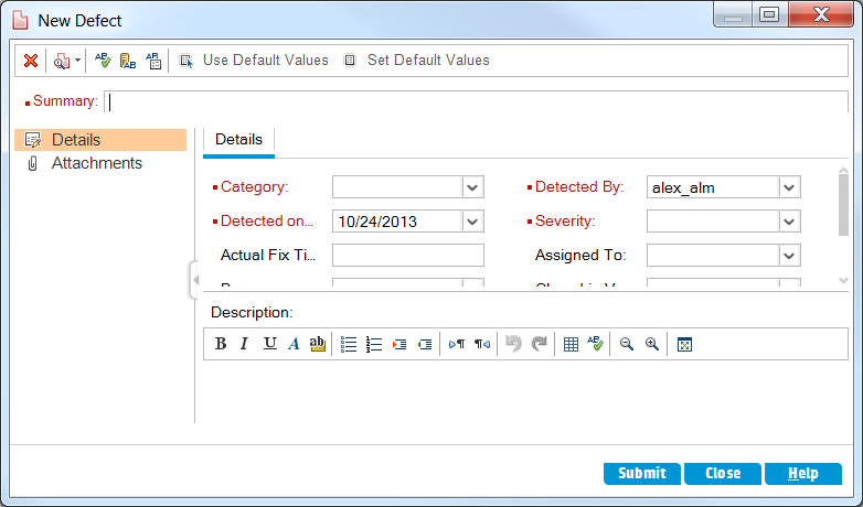 Chapter 6: Adding and Tracking Defects On the ALM sidebar, select Defects. The Defects Grid displays defect data in a grid. Each row in the grid displays a separate defect record. 3.