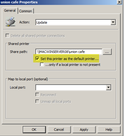 Enabling a Default Printer with Group Policy Preferences 1. Open Group Policy Editor 2. Scroll down to: User Configuration Preferences Control Panel Printers 3.