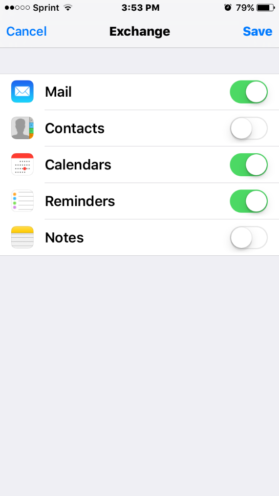 6) Choose which types of Exchange data you would like to have synched with your iphone (Mail, Contacts, Calendars