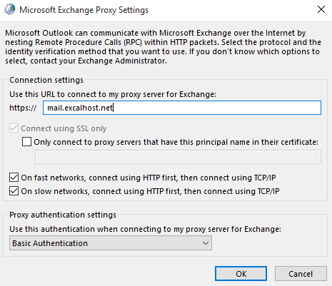 7. Enter the Proxy Server: Mail.Excalhost.net a.