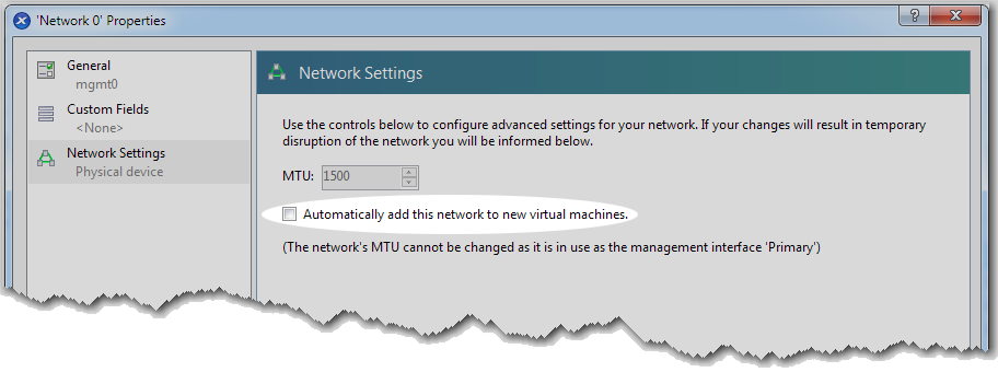 b. To configure for mgmt0, select Network0 and click Properties. The Network0 Properties screen appears. c. In the Name field, enter mgmt0. d.