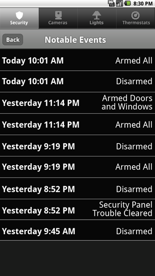 Security Notable Events Tap on the Sensors screen to display the Notable Events screen. This screen shows important recent security system activity such as arming, disarming, trouble and alarm events.