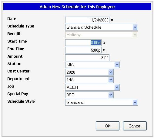 To access the schedule menu for a calendar day, right-click inside the calendar cell and the schedule options will be displayed.