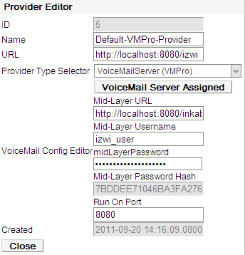 Admin Menus: Configuration 2.2.1.4 Voicemail Provider The settings below are shown for a Voicemail provider.