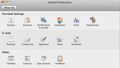 e-mails, or events into specific categories Create categories From the Menu Bar, go to the