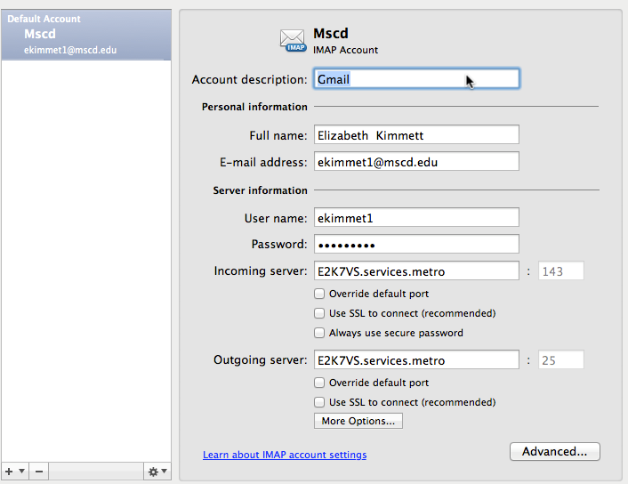 Repeat the all the steps to configure other new accounts Once the accounts have been added, in