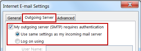 10. Click [More Settings] 11. Select the Outgoing Server tab 12. Select My outgoing mail server (SMTP) requires authentication and Use same settings as incoming mail server 13.