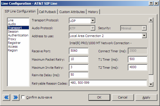 Transport Menu 3.1.2.6 Transport Protocol Figure 5: Transport Menu Line Configuration Page This option should be set to UDP. As of March 25, 2009 UDP is the only available protocol.