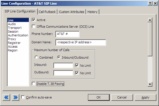 3 IC Configuration Guide 3.1 Line Configuration The line page has a vast majority of the configuration options required for SIP carrier setup.