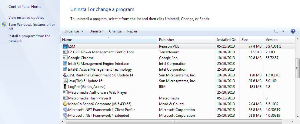 Step 2 Click on the ESM programme and click uninstall.
