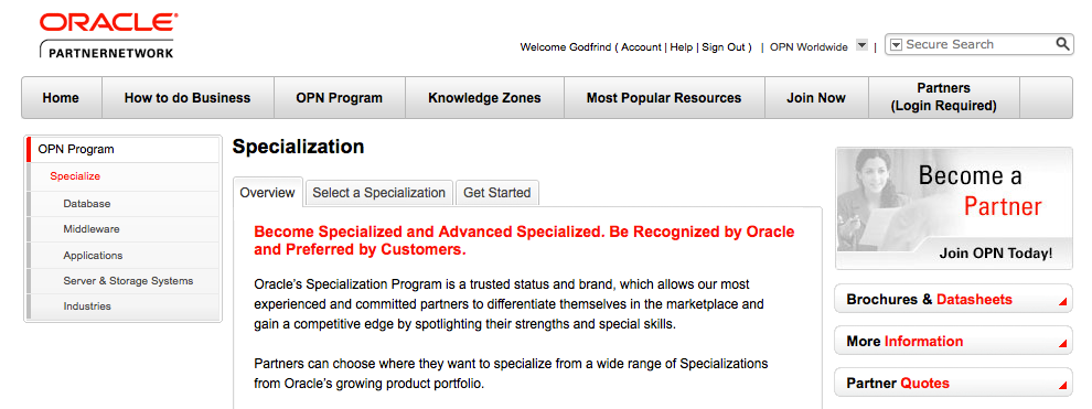 The Specialization Program http://www.oracle.