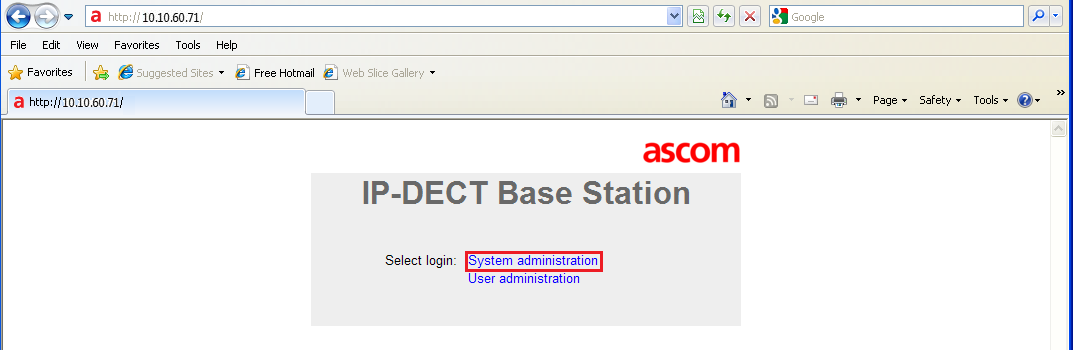 6. Configure Ascom DECT This section describes how to access and configure the Ascom DECT solution.
