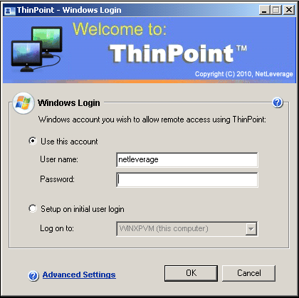 12 ThinPoint Quick Start Guide initial user login' for the account to be configured on the first successful connection. 12.