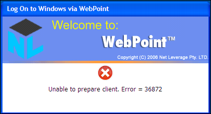 18 ThinPoint Quick Start Guide similar error number. It indicates the lack of adequate permissions for WebPoint to prepare the client.