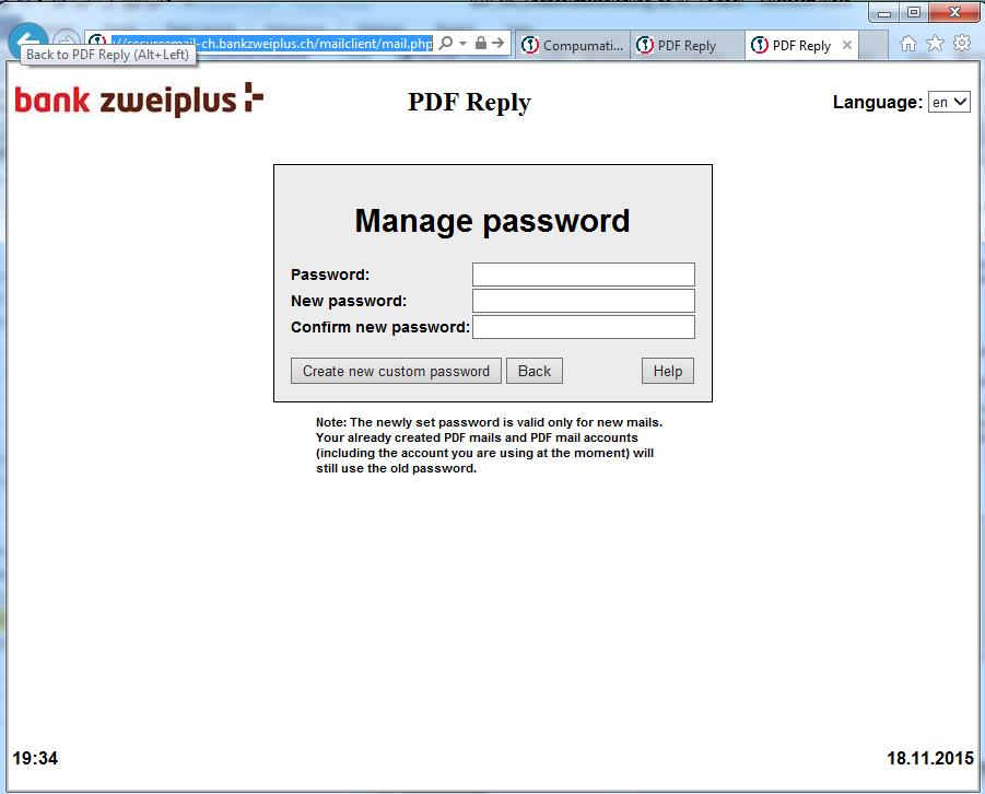 Cap. 22 - PDF Reply with «Password management» T +41 (0)58