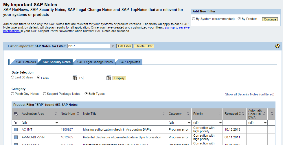 Security Patch Process Implementing SAP Security Notes