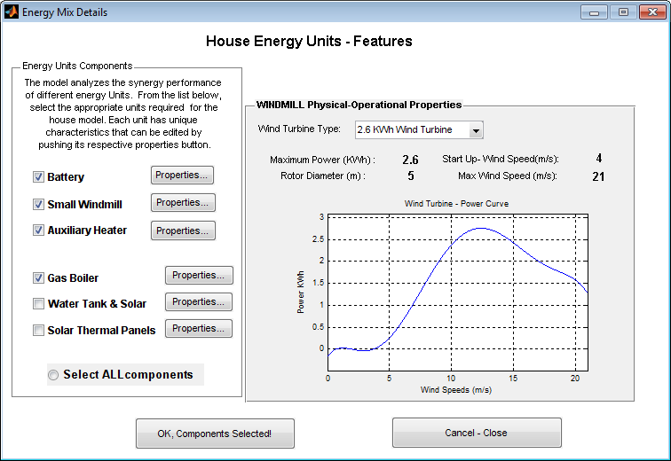 Model implementation: The tool + Case study The Tool: Different energy units configuration applied to various UK houses Units considered in a House: 15kW Gas Boiler 1.35kW Small Windmill 2.