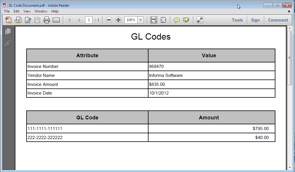 The example below shows the view of the GL Codes Document that is associated with the Workflow document.