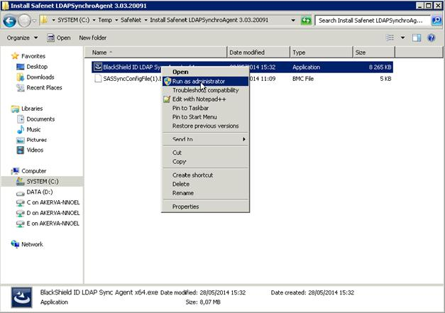 launching the Sync Agent new installer Right-click on the Sync Agent new installer and select the Run as
