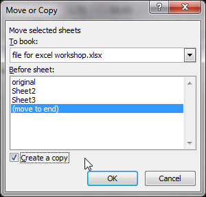 Creating a table Make a copy for the original data: