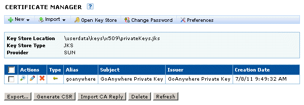 Manage SSL Private Keys To administer SSL Private Keys in the SSL Key Store: 1. Login as a User with the Key Manager role. 2.