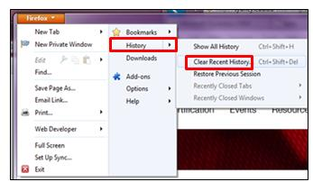 Delete browsing history At the top of the Firefox window, click on the Firefox button and select History. Clear Recent History (Cookies and Cache).