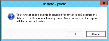 Restore to the beginning of the log mark - Select this option to restore the backup and stop immediately before the named log mark. This restore excludes the named transaction.