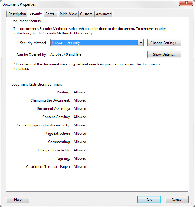 Figure 50 - Security Properties To remove password security, click the Security Method drop-down and select No Security. To make other security changes, click the Change Settings button. 4.