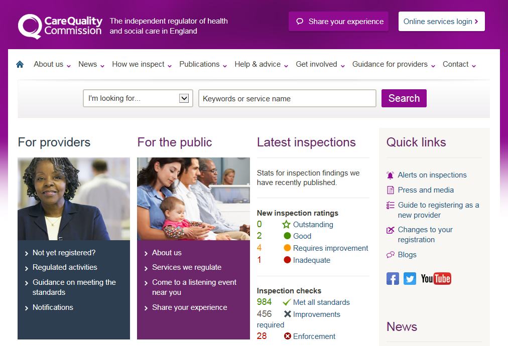 CQC is introducing ratings of all services Following an inspection, CQC gives a rating to tell you about the quality of an organisation and its main services, which are rated as: Outstanding Good