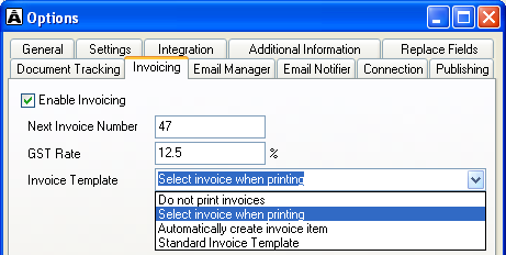 Invoicing The invoicing settings enable you to turn invoicing on or off for all Acclipse Document Manager content, enter a GST rate, determine subsequent invoice numbers, and choose to record or