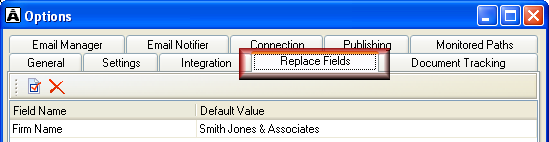 Set up auto replace fields You can set up default values for replace fields that all team members can use when merging documents.