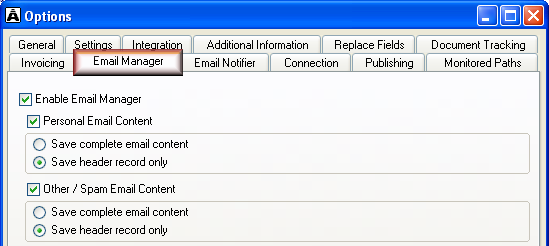 Acclipse Email Manager If your organisation has Acclipse Email Manager, you can use the administration module of Acclipse Document Manager to: Access, refile, and delete filed emails Select the types