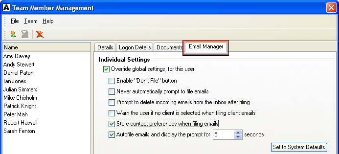 Select individual settings You can create exceptions for individual team members to the global email filing settings you select.