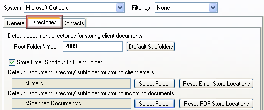 Select storage locations To select the storage locations for Acclipse Document Manager: 1. Select the Directories tab in the Outlook integration screen. 2.