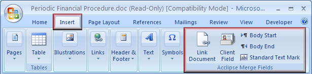Add merge functionality to template You can add replace fields and a standard text mark to a template using the buttons on the Acclipse Merge Fields toolbar in Word.