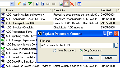 Example of unopened Intranet view document in the user module Replace existing document with updated version If you update a document you have added to Acclipse Document Manager, you can replace the