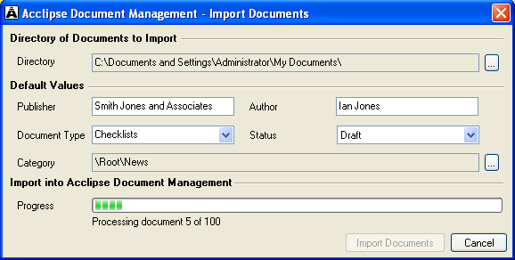 Import folder of documents In addition to adding content from suppliers to Acclipse Document Manager, you can import any folder containing subfolders and documents.