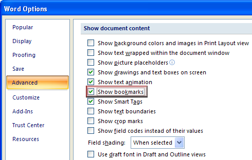 View body start and end tags You need to switch on Bookmarks to view the body start and body end tags.