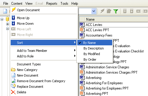 Sort documents in category You can order documents in a category by clicking the following column headers in the information panel or selecting Content Sort: Name Documents are listed according to