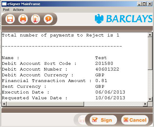 5.1 Verify a BACS payment The page also includes the following buttons: Verify to verify up to 100 selected payments. Reject to reject up to 100 selected payments. Print to print the page.